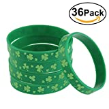 #9: BESTOMZ Shamrock Bracelets for St. Patrick's Day Accessories Green Silicone Rubber 36 Pieces