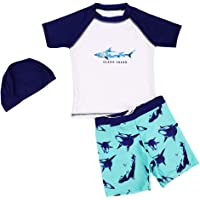 Digirlsor Boys Rashguard Short Sleeve Swimsuit Little Big Kids Swim Trunks with Shirt + Swim Cap, 2-10Y
