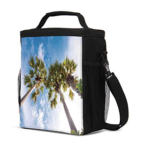 Nature Durable Lunch Bag,Palm Tree at Phromthep Cape Phuket Thailand With Summer Sky View Holiday Picture for Travel Picnic,8.2