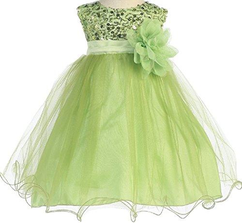 Paillette Sleeveless Short - Little Baby Girls Sleeveless Sequin Glitter Little Baby Infant Toddler Flower Girl Dress Lime S (K31D5)