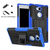 Huawei P Smart case,LiuShan Shockproof Heavy Duty Combo Hybrid Rugged Dual Layer Grip Cover with Kickstand For Huawei P Smart Smartphone (With 4in1 Free Gift Packaged),Blue