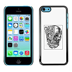 Eason Shop / Premium SLIM PC / Aliminium Casa Carcasa Funda Case Bandera Cover - Cráneo Cartel Negro abstracto blanco profundo; - For Apple Iphone 5C