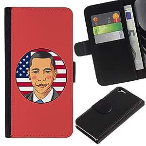 ARTCO Cases - Apple Iphone 6 4.7 - Pop Art Obama Cartoon - Cuero PU Delgado caso Billetera cubierta Shell Armor Funda Case Cover Wallet Credit Card