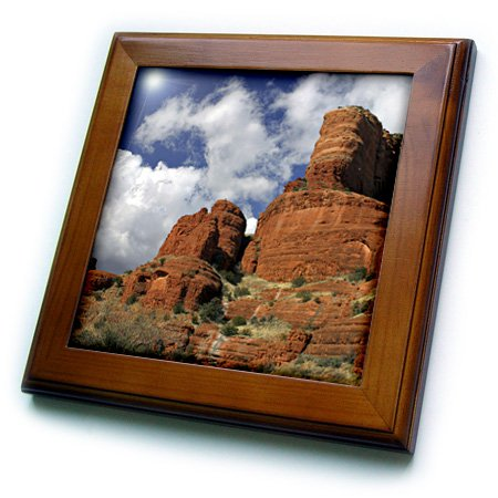 3dRose ft_88012_1 Arizona, Sedona, Red Rock Formations - US03 KWI0032 - Kymri Wilt - Framed Tile, 8 by 8-Inch