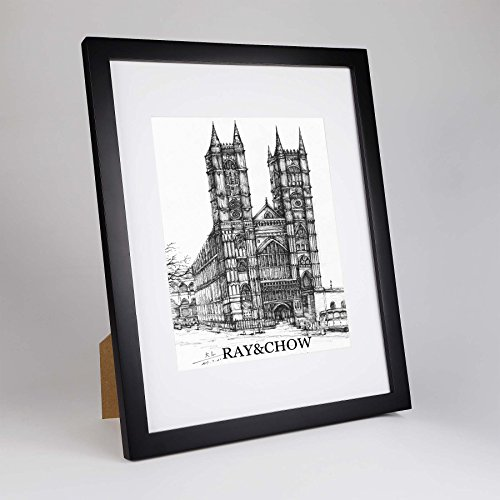 RAY&CHOW 11x14 Black Picture Frame - Solid Wood - Glass wind