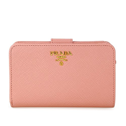 Prada Bi-fold Zip Saffiano Leather Wallet - Orchidea