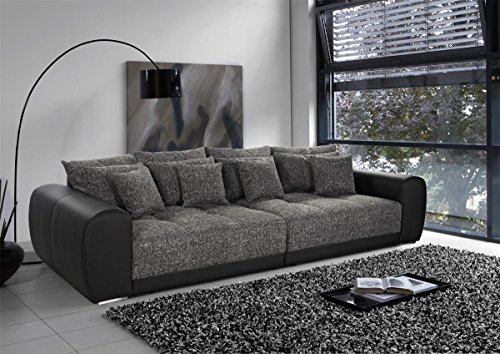 Big Sofa Suri Stoff grau Lederimitat schwarz