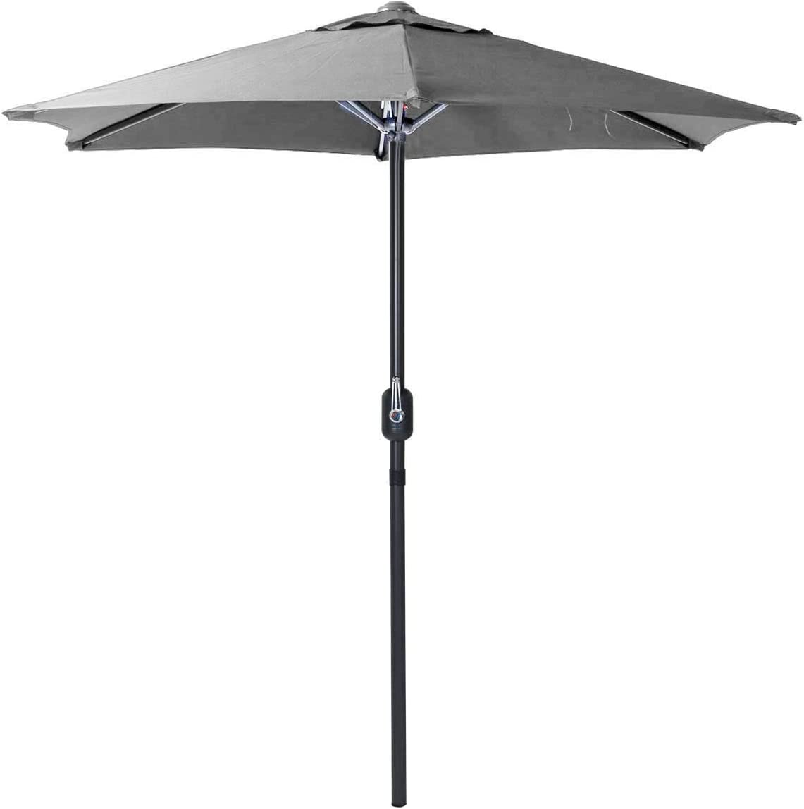 Charles Bentley 2M Garden Patio Market Umbrella Parasol Crank Function Black Showerproof Large Sunshade H220 x L200 x W200 cm