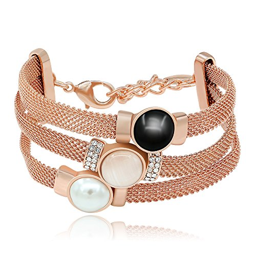 Kemstone Mothers Day Gift Jewelry Tri Layer Simulated Pearl Opal Crystal Rose Gold Plated Strand Bracelet,7.27