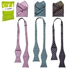 BMC Mens 6pc Mixed Design Self Tie Bowtie Pocket Square Suit Accessories - Set 1