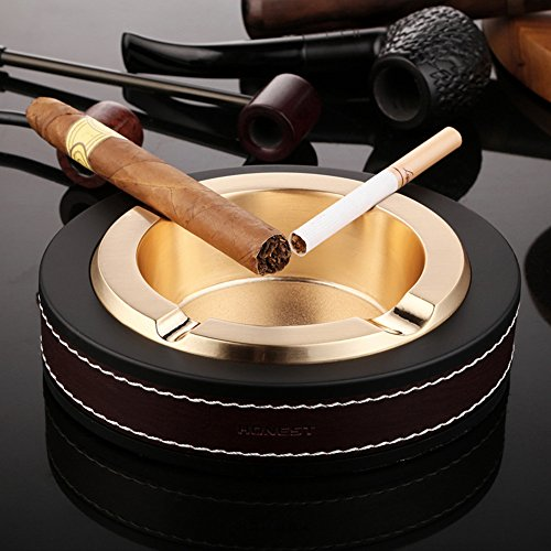 Cigar/Cigarette Ashtray,Stainless steel Leather Creative Fashion Tabletop Cigarette Ashtray For Indoor or Outdoor Use,Ash Holder for Smokers, Desktop Smoking Ashtray for Home office Decoration (Gold)
