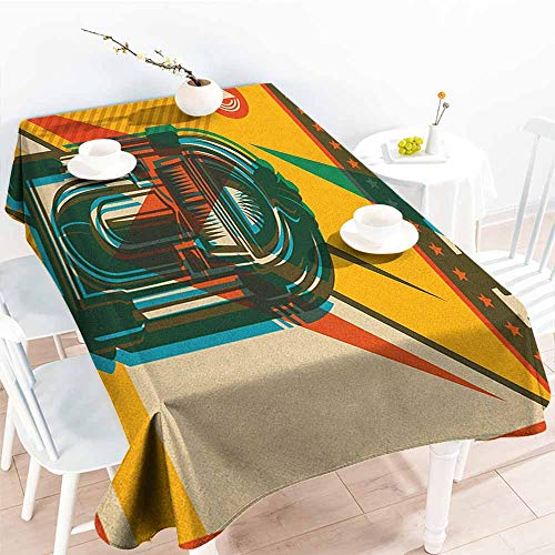 EwaskyOnline Fashions Rectangular Table Cloth,Jukebox Digital Retro Print Party Themed Old Antique Music Radio,Modern Minimalist,W60x84L, Olive Green Earth Yellow Azure ()