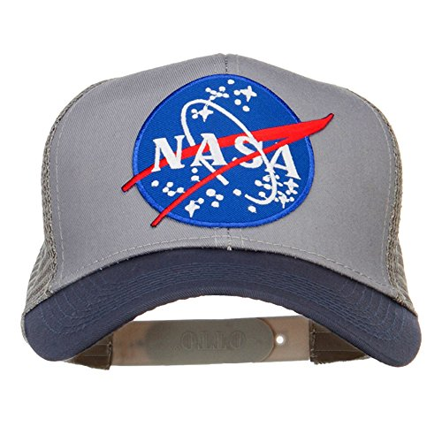 (E4hats NASA Patched Two Tone Mesh Cap - Navy Grey OSFM)