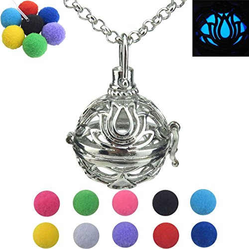 Lotus Flower, Lotus Locket Necklace, Floating Locket Necklace for Women, Pompoms Ball