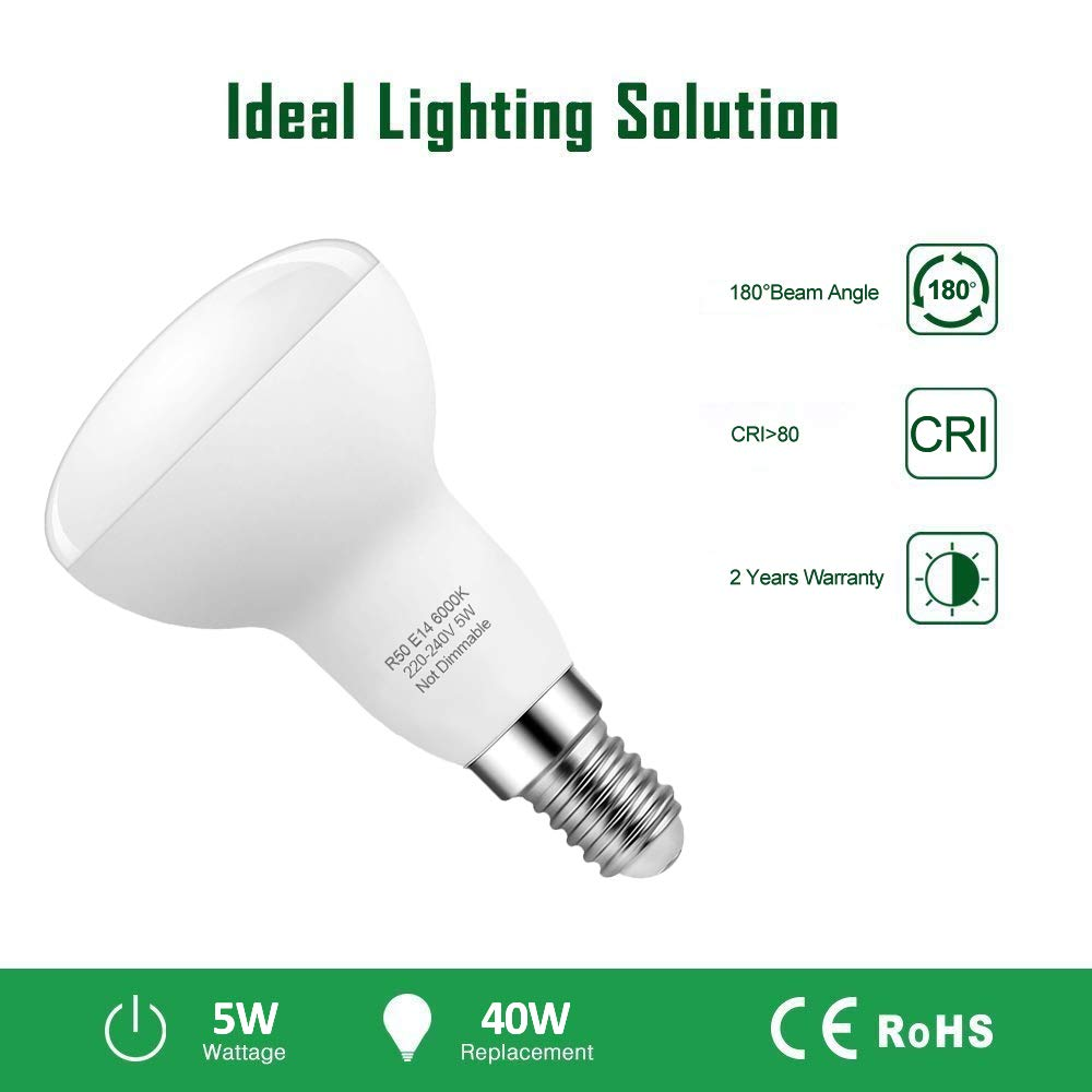R50 led Light Bulb 6 Pack Non-Dimmable Reflector Bulbs 420Lm Pursnic 5W E14 LED Bulbs 40W Incandescent Bulbs Equivalent 180/°Beam Angle