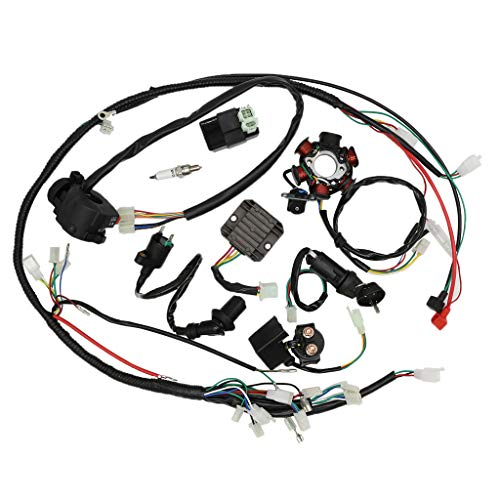 OTOHANS AUTOMOTIVE Complete Wiring Harness kit Electrics Wire Loom Assembly with Full Copper Wire For GY6 4-Stroke Four wheelers Engine Type 125cc 150cc Pit Bike Scooter -