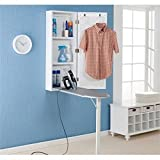 ironing board cabinet Southern Enterprises Wall Mount Ironing Board Center with Storage and Wall Mirror - White