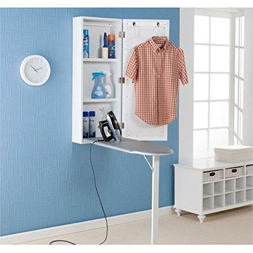 Southern Enterprises Wall Mount Ironing Board Center with Storage and Wall Mirror - White