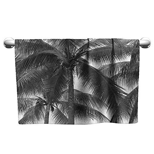 DUCKIL Sports Towel Palm Tree Decor Palm Tree Silhouette Exotic Plant on Dark Thema Foliages Relax in Nature Image Popular Bath Towels 20 x 20 inch Black