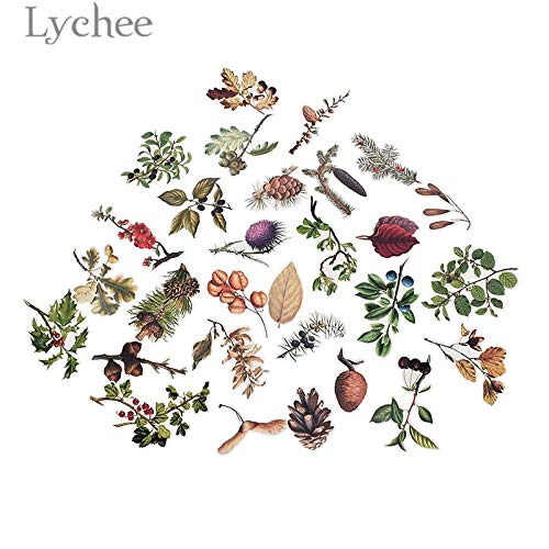 (Cacys-Store - Pine Cone Mushroom Stickers Autumn Theme Paper Decals DIY Scrapbooking Diary Label Decorative Stickers)