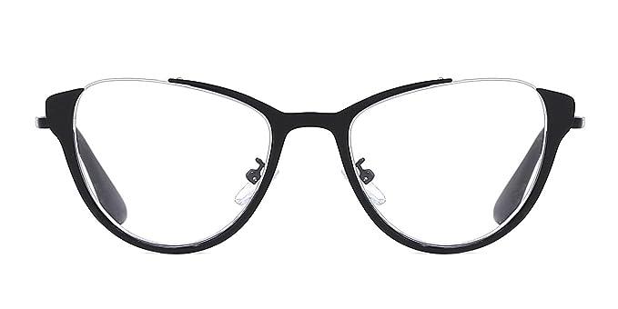 27716abe1e TIJN Sexy Large Metal Cateye Non-Prescription Glasses Optical Eyeglasses  Black