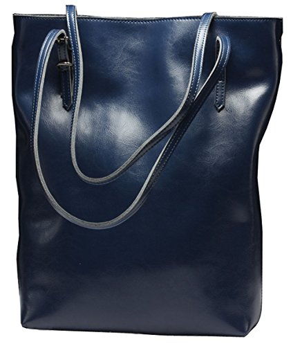 Hereby Kuer Women's Cow Leather Tote Top Handle Shoulder Bag Cross Body Handbag satchel Purse (Navy Blue) Lux Mini Wallet