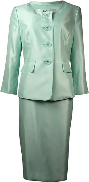 Amazon.com: Le Suit Traje four-button chamarra y falda para ...