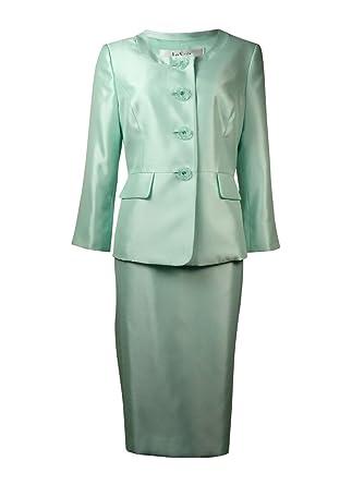 Le traje traje de falda y chaqueta de cuatro botones para mujer ...