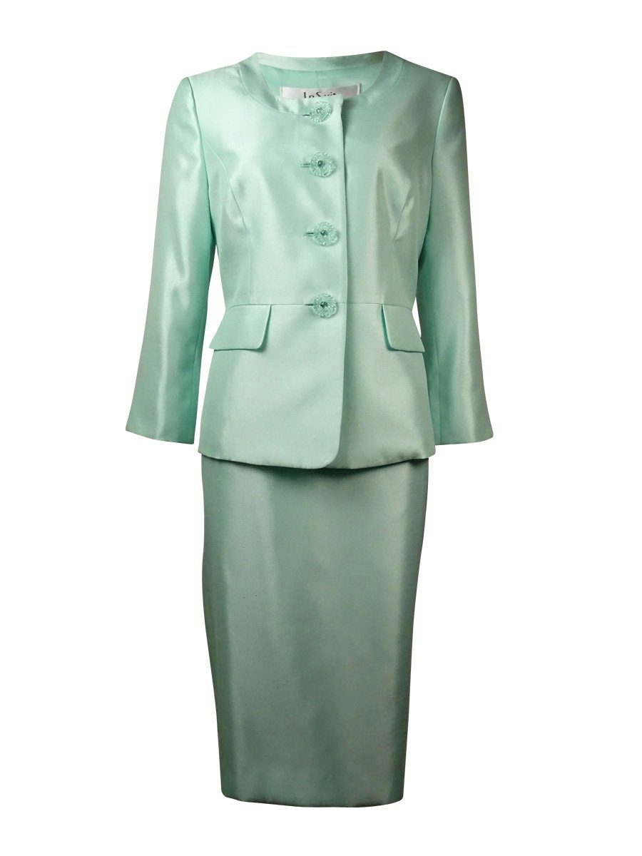 Le Suit Womens Petites The Hamptons 3/4 Sleeves 2PC Skirt Suit Green 4P
