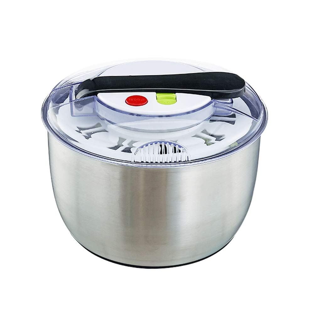 Large-capacity 4.7-Quart stainless steel push-type salad spinner, easy to use, used for washing and drying vegetables, with one-button pause function by yuanbogg