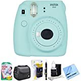 Fujifilm Instax Mini 9 Instant Camera Ice Blue (16550643) with 20 Sheets of Instant Film, Bag for Cameras, AA Charger w/AA Batteries, LCD/Lens Cleaning Pen, Lens Cleaning Kit & Micro Fiber Cloth