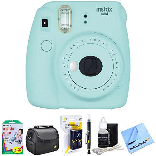 Fujifilm Instax Mini 9 Instant Camera Ice Blue (16550643) with 20 Sheets of Instant Film, Bag for Cameras, AA Charger w/AA Batteries, LCD/Lens Cleaning Pen, Lens Cleaning Kit & Micro Fiber Cloth by Fujifilm