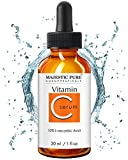 Majestic Pure Vitamin C Serum - Anti Aging Skin Brightening Facial Serum for Face and Neck with L-ascorbic Acid, 1 fl. oz.