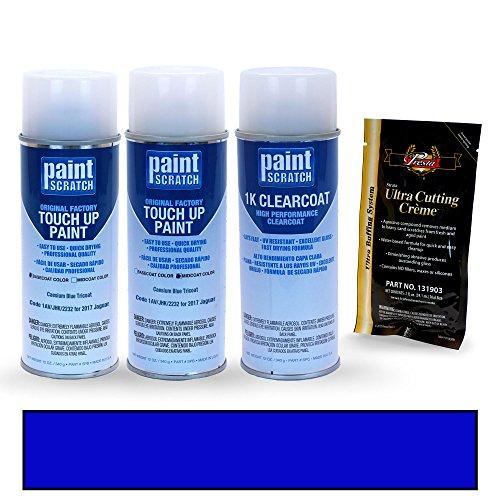 PAINTSCRATCH 2017 Jaguar XE Caesium Blue Tricoat 1AV/JHK/2232 Touch Up Paint Spray Can Kit by Original Factory OEM Automotive Paint - Color Match Guaranteed by PAINTSCRATCH