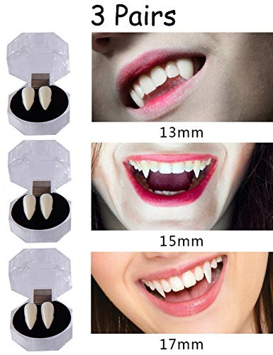 Keklle 3 Pairs Vampire False Teeth Fangs Dentures Cosplay Props Halloween Costume Props Party Favors Decoration -
