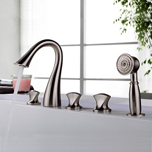Jiuzhuo Sleek Design 5 Hole Roman Tub Bathroom Faucet Chrome, Brushed Nickel Finish (Brushed (Nickel Roman Tub Set)