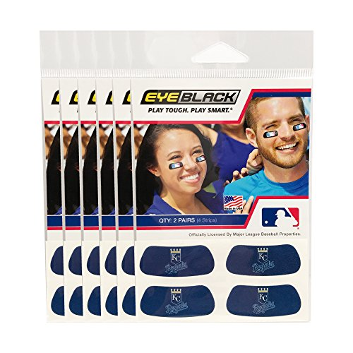 (24 Strips) Kansas City Royals MLB Eye Black Anti Glare Strips, Great for Fans & Athletes on Game Day -