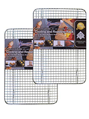 Stainless Steel Cooling, Baking & Roasting Wire Racks fit Quarter Sheet Size Pans, Oven Safe, Heat Resistant, Dishwasher Safe, Rust Proof, Commercial Quality by Kitchenatics (8.5