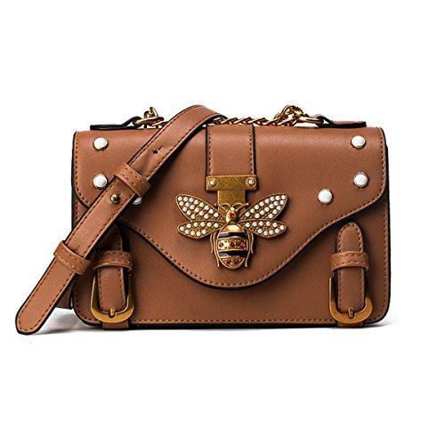 Women PU Leather Cute Bee Handbag Crossbody Bag Pearl Vintage Small Square Shoulder Bag Formal Daily Use (Brown)