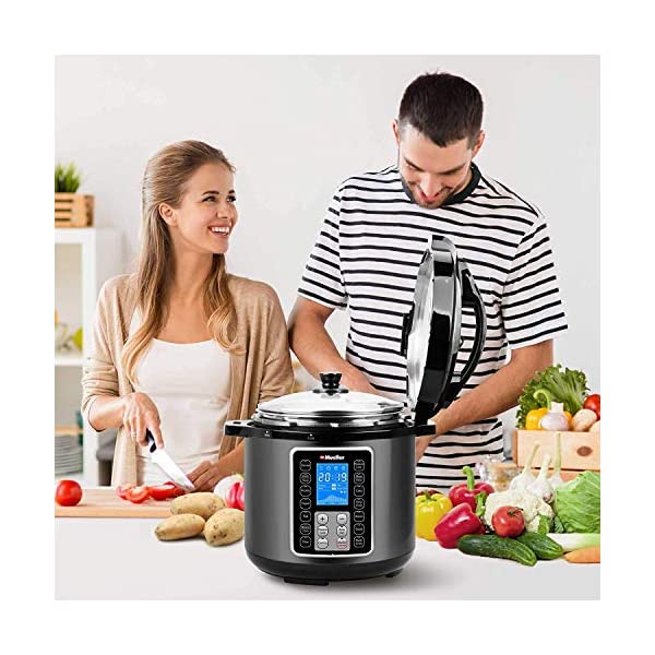 Mueller 6 Quart Pressure Cooker 10 in 1, Cook 2 Dishes at Once, Tempered Glass Lid incl, Saute, Slow Cooker, Rice Cooker, Yogurt Maker and Much More 6