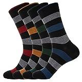 KONY 4 Pack Men's Premium Combed Cotton Dress Crew Socks - Colorful Stripe Patterned Business Socks, Size 9-12 (Stripe 3-4 Pairs)