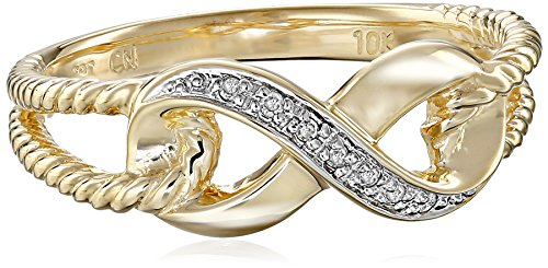 10k Yellow Gold Infinity Diamond Ring, (0.02 cttw, I-J Color, I2-I3 Clarity) Size 7 (Infinity Diamond Rings For Women)