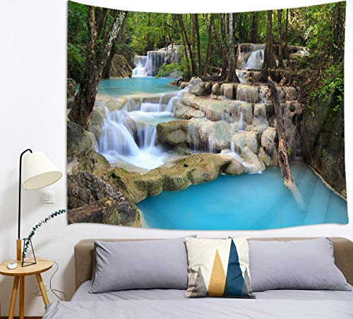 HVEST Waterfall Tapestry Tropical Rain Forest Stone River Tapestry for Bedroom Living Room Dorm Wall Decor Dinning Tablecloth,60Wx40H inches