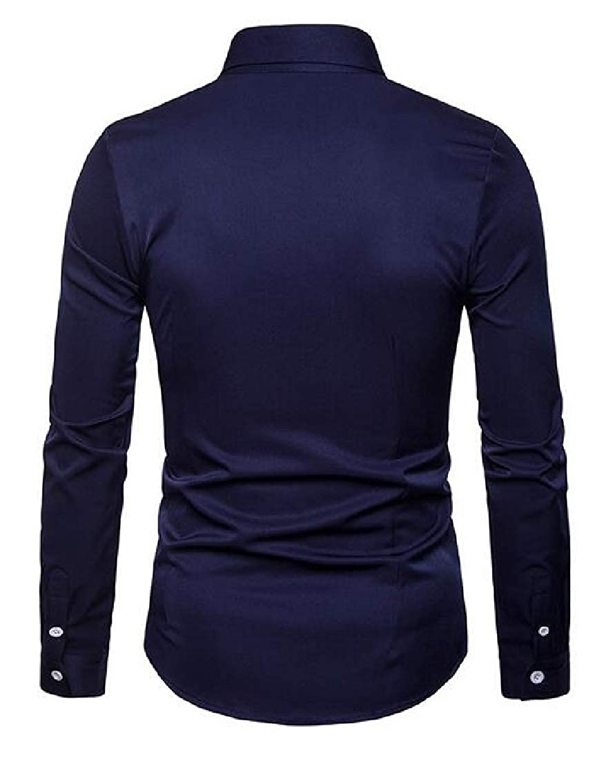 Cromoncent Men Casual Long Sleeve Button Down Embroidery Regular Collar Shirts