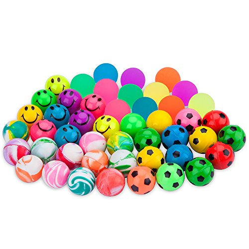 Biging 48 Pieces 4 Style 25mm Bouncy Balls Bulk Set Include Mixed Colour Ball Series, Neon Ball Series, Football Series and Smiley Ball Series for Party Bag Fillers Football Bouncy Balls