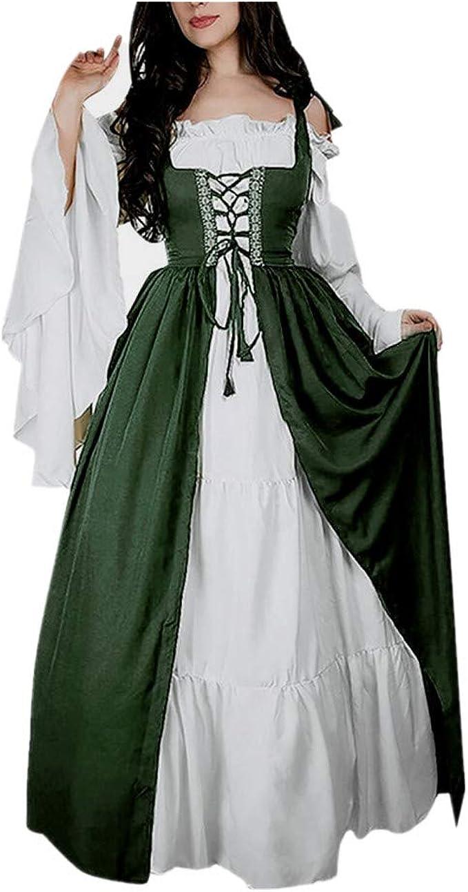 SALUCIA Damen Mittelalter Kleid Trompetenärmel Bodenlange Vintage Kostüm  Viktorianisches Renaissance Gothic Prinzessin Lange Kleider für Festliche