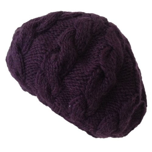 Nirvanna Designs CH208 Cable Beret with Fleece, Prune