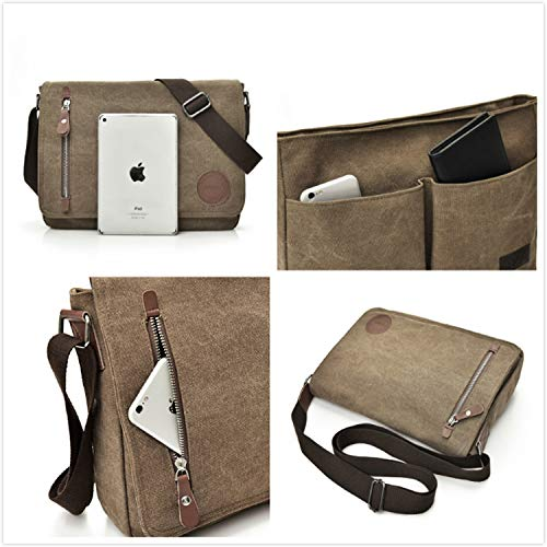 SHEVENS Unisex Casual Canvas Satchel Messenger Bag Shoulder Bags for Working Traveling Camping - Coffee by SHEVENS (Image #4)