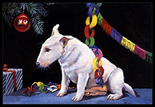 Multicolor 18 x 27 Carolines Treasures FMF0012MAT Bull Terrier Under The Christmas Tree Indoor or Outdoor Mat