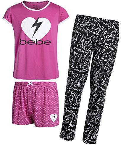 bebe Girls' 3-Piece Sleepwear Set with Short Sleeve Pajama Top, Shorts, and Pants, Magenta/Logo, Size 14/16']()